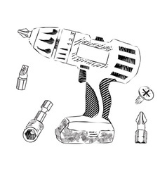 Screwdriver and bits vector