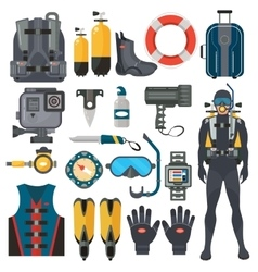 Scuba diving equipment accessories collection vector