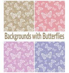 Seamless patterns outline butterflies vector