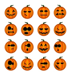 Set cute cartoon pumpkins with different emotions vector