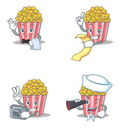 Set of popcorn character with waiter menu photo vector
