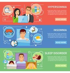 Sleep disorders banners set vector
