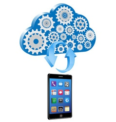 smart phone synchronize cloud vector image vector image