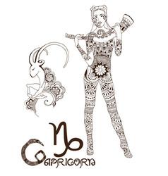 Stylized zodiac sign of capricorn vector