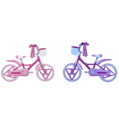 Two cute kids bicycles vector