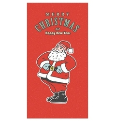 Vintage retro christmas card old-fashioned santa vector