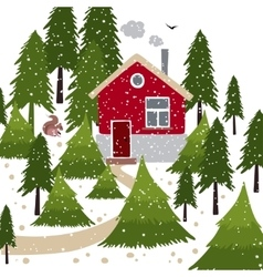 Winter snow covered forest and rural house with a vector image vector image