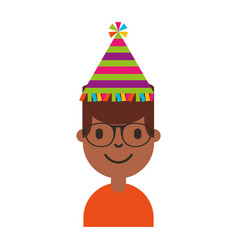 Young man black with party hat character vector