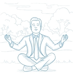 Businessman meditating in lotus pose on the beach vector