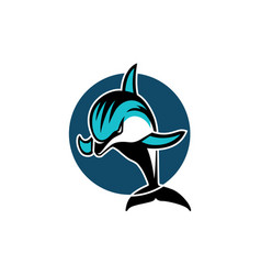 dolphin in a circle sport logo emblem vector image