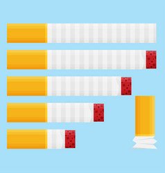 Colored flat design cigarette set orange filter vector