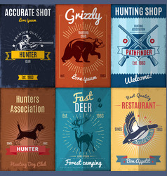 vintage hunting posters collection vector image