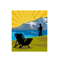 Fly fisherman fishing lake mountains chair vector