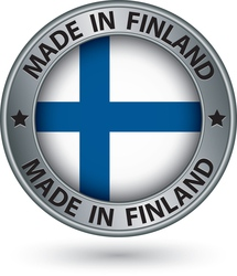 Made in finland silver label with flag vector