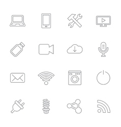 Devices and technologies icons usb wi-fi vector