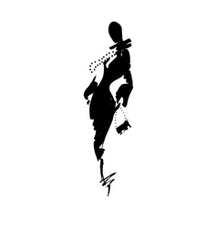 Fashion a woman in long dress ink vector