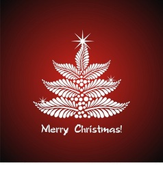 White christmas tree on red background vector