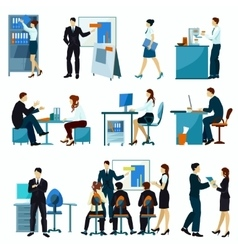 Office workers flat set vector
