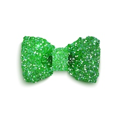 Green sparkling glitter decorated bow st patrick vector