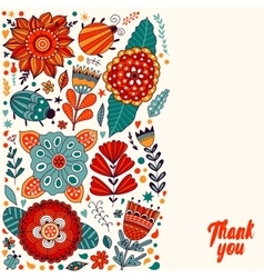 Floral card design flowers and leaf doodle vector
