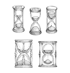 Hourglasses and sandlgasses sketches set vector
