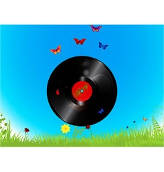 Vinyl record and butterflies background vector
