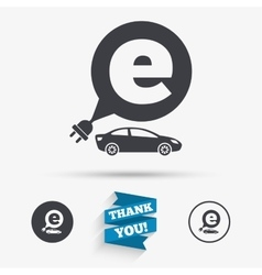 Electric car sign icon sedan saloon symbol vector