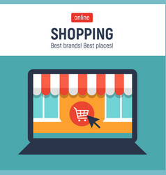 Banner of online shop with laptoponline shopping vector
