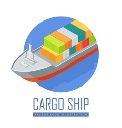 Cargo ship icon in isometric projection vector