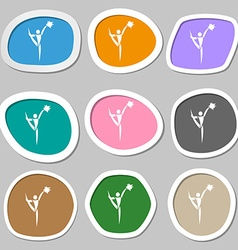 Cheerleader symbols multicolored paper stickers vector