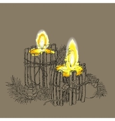 Christmas candle in doodle style black on white vector