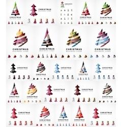 Christmas tree icon set Geometric design vector image
