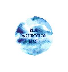 Circle abstract blue watercolor blot vector