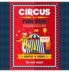 Circus fun fair carnival poster red vector