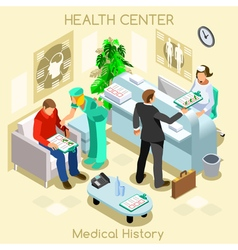 Clinic wait room isometric people vector