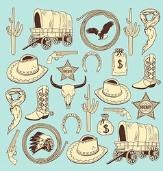 Cowboy seamless pattern vector image vector image