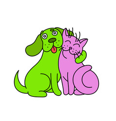 cute dog hugs cat vector image vector image