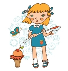 Cute girl with a huge cupcake holding a big spoon vector image vector image
