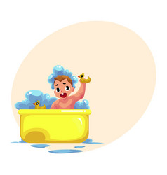 Cute little baby kid infant child taking foam vector