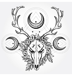 Deer scull with branches and ornate moons vector