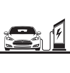 Electric car and filling station vector
