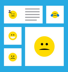 flat icon face set of asleep sad cold sweat and vector image vector image