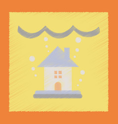 Flat shading style icon flood house vector