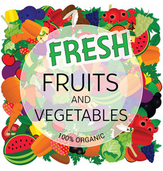 fresh fruit and vegetables vector image vector image