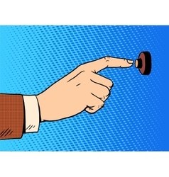 Hand presses call button view profile vector