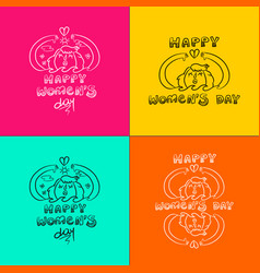 happy 8 march women day doodle set girl in nature vector image vector image