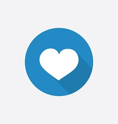 Heart flat blue simple icon with long shadow vector