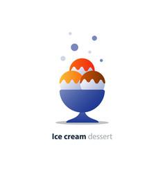 ice cream dessert three scoops tasty flavor cool vector image vector image