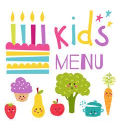 kids organic menu hand drawn banner set vector image