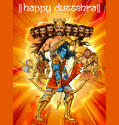 Lord rama with bow arrow killing ravan in dussehra vector